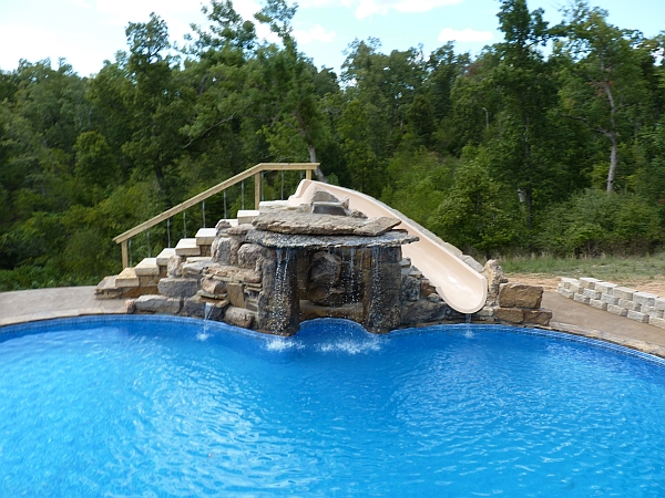 Inground Pool Slides Rock Swimming Pools Photos