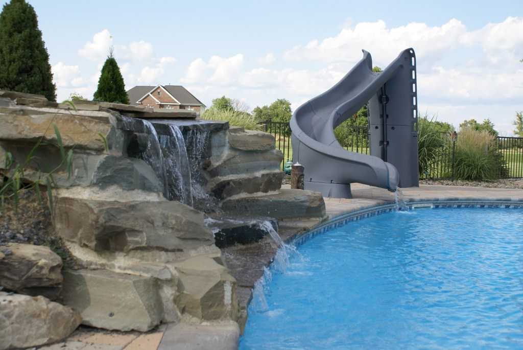 Inground pools with waterfalls and slides for Swimming pools with slides and waterfalls
