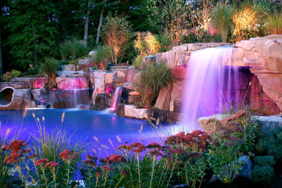 inground swimming pools with waterfalls