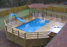 pools above ground with deck