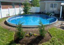 semi inground pools and deck designs