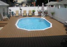 semi inground pools with decks prices