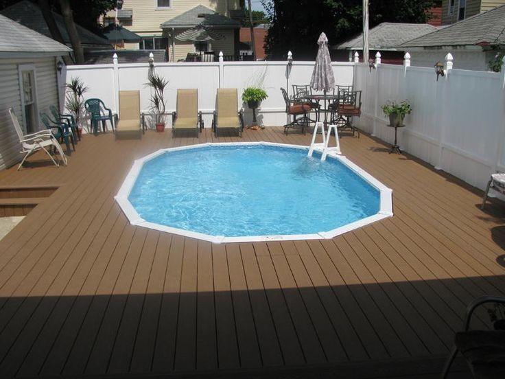 semi inground pools with decks prices
