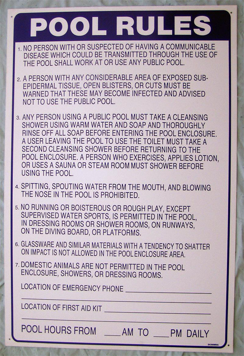 swimming pool regulations