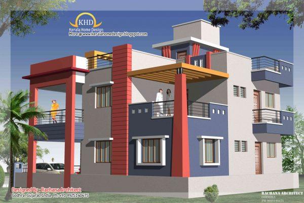duplex house plans elevation photos indian style_1