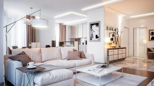 Design of the apartment in the light colors (modern style): photos
