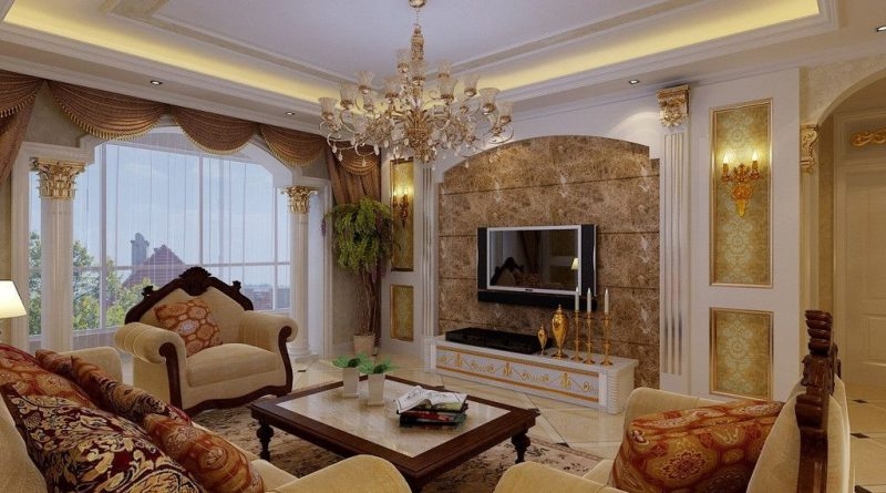 Design of the living room (17 m2) in classic style