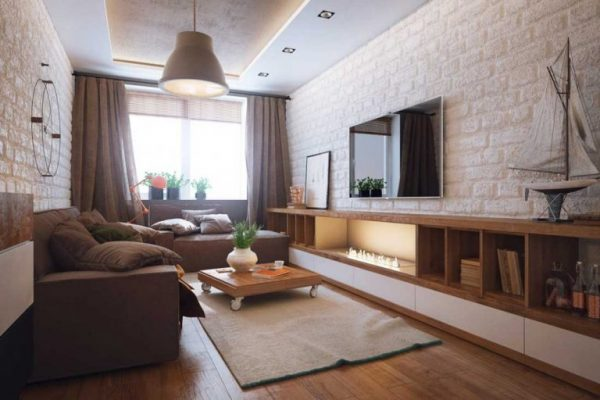 Design of the one room apartment (18 m2) in modern style