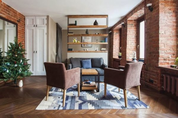 Design of the one-room apartment (40 m2) in the loft style
