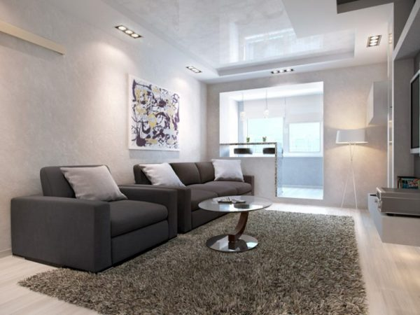 High tech style in the design of the one-room apartment (40 m2)