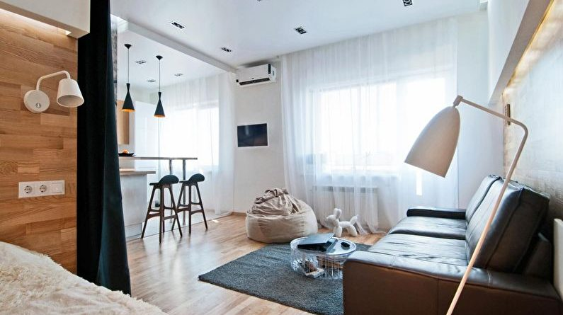 Interior of the one-room apartment in modern style